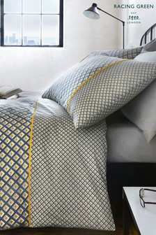 Soho Geo Duvet Cover And Pillowcase Set by Racing Green