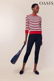 Oasis Blue Grace Capri Trousers