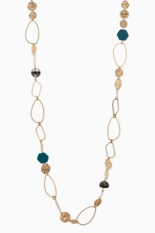 Metal And Enamel Bead Rope Necklace