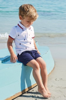 Boat Embroidered Polo And Shorts Set (3mths-7yrs)