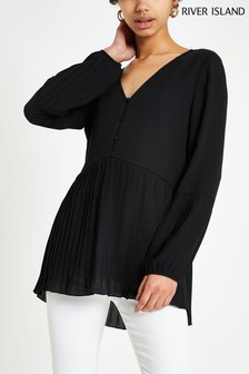 River Island Black Pleat Blouse