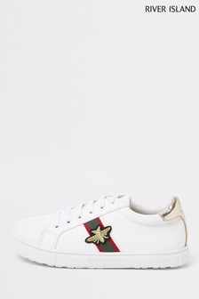 River Island White Side Stripe Bee Trainers