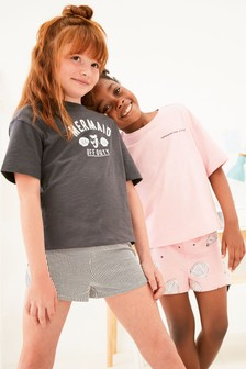 2 Pack Mermaid Woven Short Pyjamas (3-16yrs)