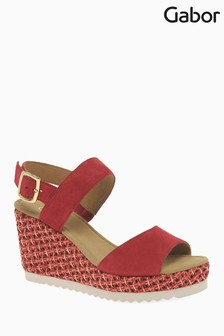 Gabor Red Suede Sandal