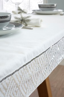 Sequin Border Tablecloth