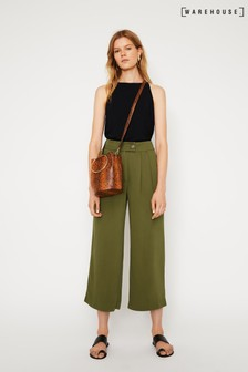 Warehouse Green Cropped Pleat Front Trouser