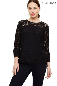 Phase Eight Black Bettie Lace Blouse