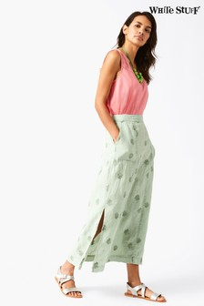 White Stuff Green Roller Linen Maxi Skirt
