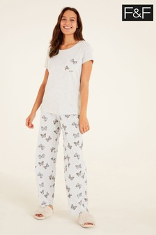 F&F Grey Butterfly Grey Core Pyjamas