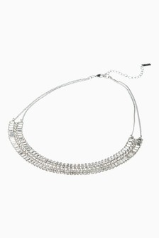 Crystal Effect Multi Row Statement Necklace