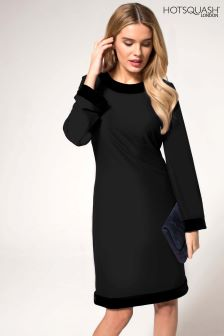 HotSquash Black Velvet Detail Long Sleeved Swing Dress