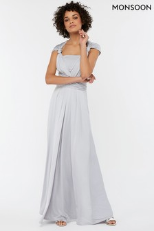 Monsoon Ladies Silver Natasha Jersey Maxi Dress
