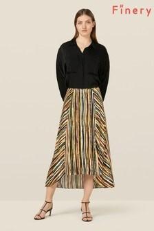 Finery London Multi Mika Striped Dipped Hem Skirt