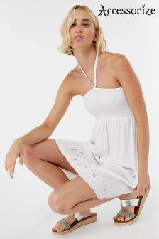 Rochie Accessorize fără umeri brodată albă