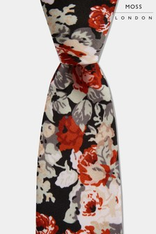 Moss London Black With Large Rose Print Tie
