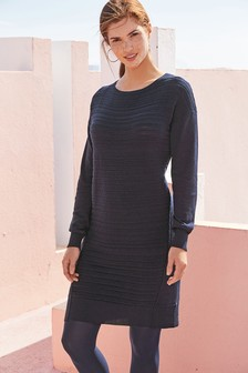 Ripple Boat Neck Dress