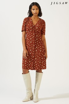 Jigsaw Brown Forget Me Not Tea Dress