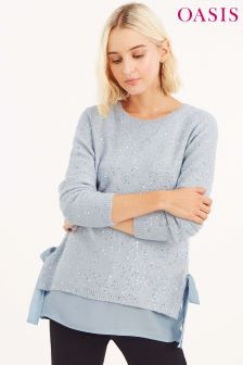 Oasis Mid Grey Sophie Sequin Woven Mix V Neck