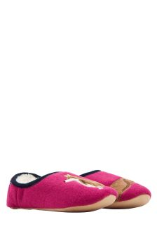 Joules Pink Dog Appliqué Slippet Slipper