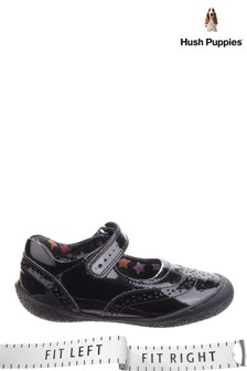 Hush Puppies Black Rina Junior School Shoes