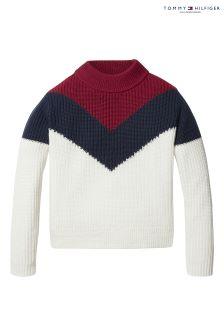 Tommy Hilfiger White Chevron Block Sweater
