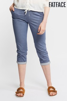 FatFace Blue Lulworth Stripe Crop Chino