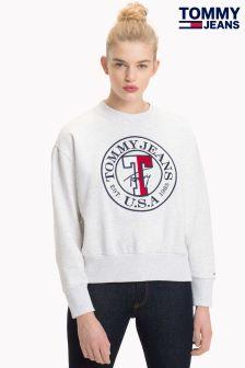 Tommy Jeans White Logo Sweatshirt