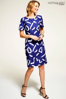 HotSquash Navy Rivera Short Sleeved Print Shift Dress