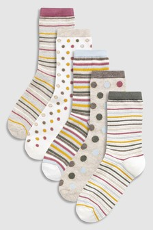 Metallic Spot Ankle Socks Five Pack