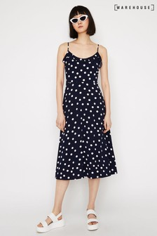 Warehouse Blue Spot Strappy Cami Midi Dress