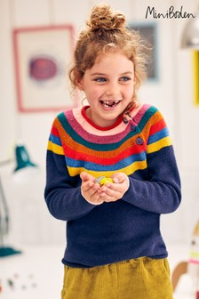 Boden Navy Colourful Knitted Jumper
