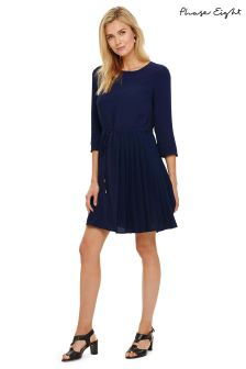 Phase Eight Blue Michelle Side Pleat Dress
