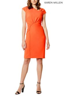 Karen Millen Orange Piped Frill Collection Dress