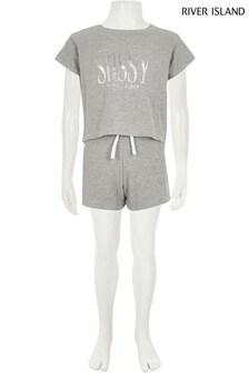 River Island Grey Sassy Crop T-Shirt And Short Set