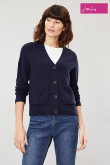 Joules Blue Laura Short V-Neck Cardigan