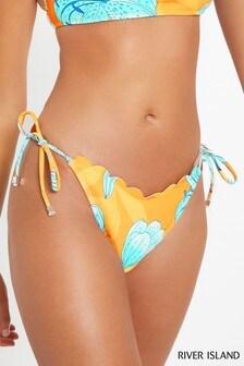 River Island Yellow Scallop Tie Side Bikini Brief