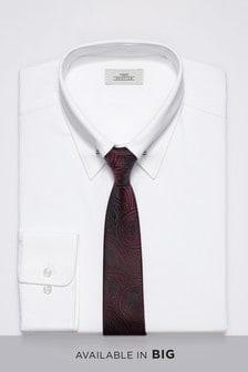 Collar Pin Regular Fit Shirt With Paisley Pattern Tie Set