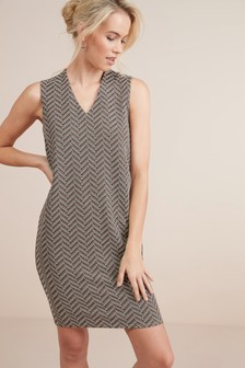 Sleeveless V-Neck Jersey Shift Dress