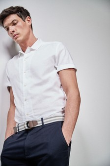 Short Sleeve Linen Revere Shirt