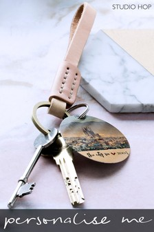 Personalised Leather Keyring With Custom Photo Plate by Studio Hop