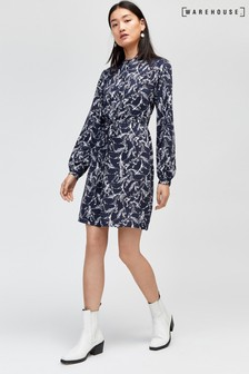 Warehouse Black Horse Print Shirt Dress