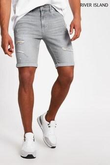 River Island Grey Light Skinny Ripped Denim Jeans