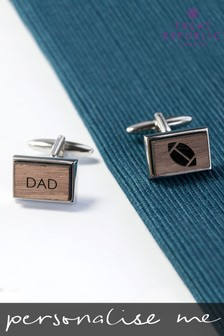 Personalised Iconic Pursuits Engraved Walnut Cufflinks by Treat Republic