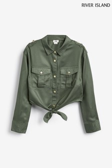 River Island Khaki Tie Front Military Shirt