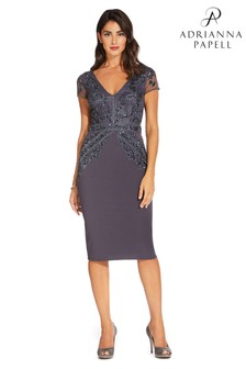 Adrianna Papell Grey Beaded Crepe Dress