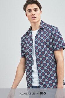 Chemise à imprimé géométrique et à manches courtes