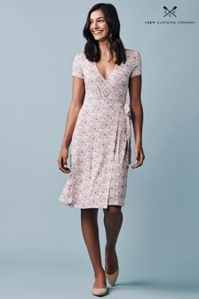 Crew Clothing Company Pink Jersey Wrap Dress