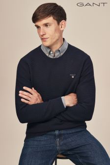 GANT Navy Triangle Textured Crew Knit Jumper