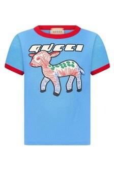 GUCCI Kids Blue Cotton Blend T-Shirt