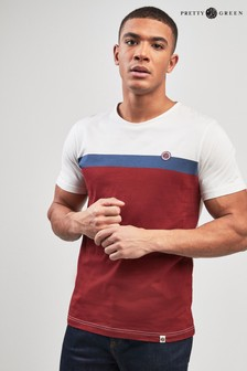 Pretty Green Red/White Contrast Panel T-Shirt